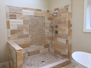 Who wouldn't want to climb into this beautiful shower area?